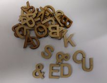 wooden letters (2 cm) full alphabet x 4 over 110 pieces  laser cut 3 mm MDF